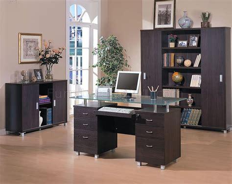 espresso finish contemporary office desk wglass top