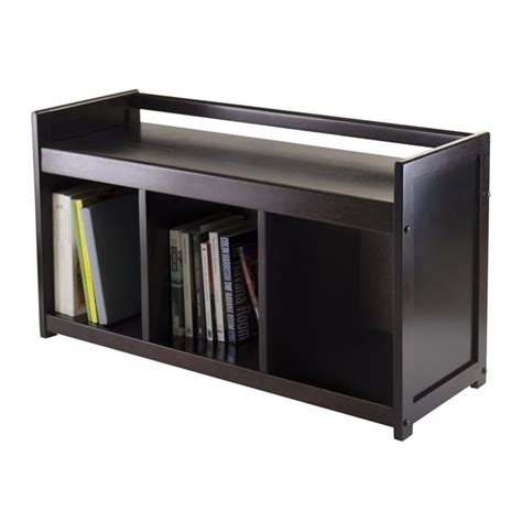 espresso bench with storage storage bench with 3 section in dark espresso 92439