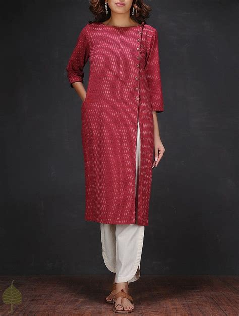 boat neck indian dress buy red white ikat boat neck handloom cotton kurta online