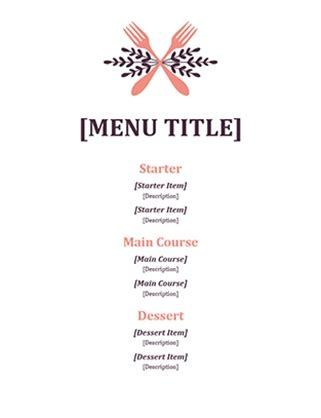 fancy restaurant menu template blank fancy menu template world of printable and chart