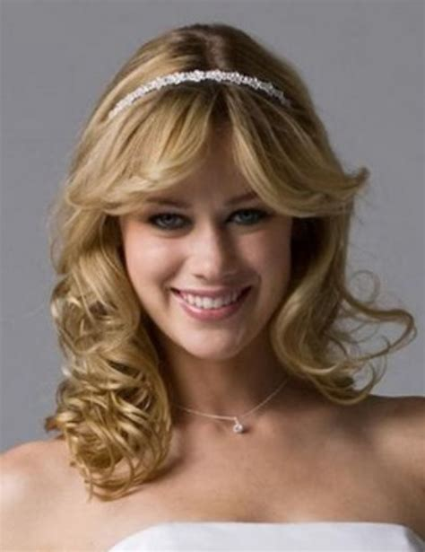 wedding hairstyles with headband and curls simple bridal hairstyle with straight hair top and curly