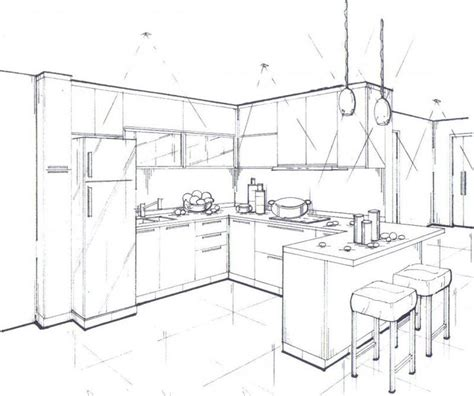 kitchen drawings interior design 187 04 perspective drawings sketching