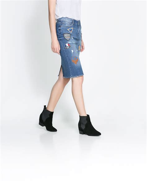 zara patched in blue lyst zara patched denim skirt in blue lyst