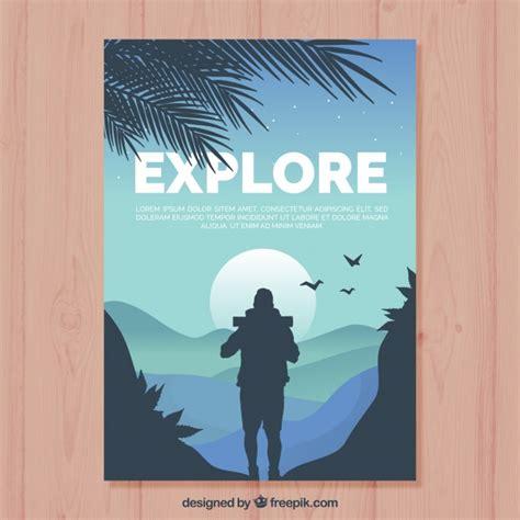 Kaos Jejak Petualang Survival modelo de folheto de viagens design plano baixar
