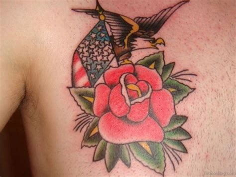 eagle rose tattoo 70 brilliant tattoos for chest