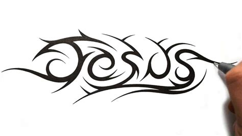 tribal name tattoo designs how to draw jesus in a tribal design style