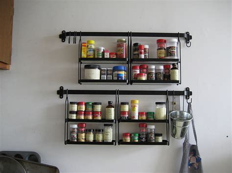 Metal Spice Rack Wall Mount Black Metal Wall Mounted Spice Rack With Eight