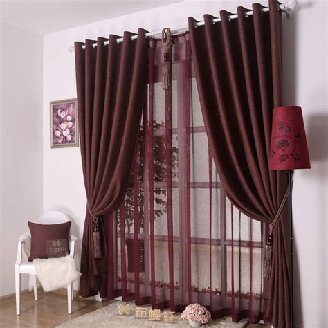 bedroom or living room decorative dark red curtains