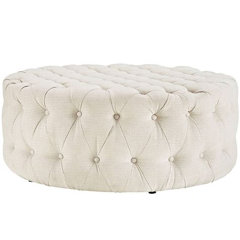 Round Tufted Fabric Ottoman Modern Furniture Brickell Tufted Fabric Ottoman