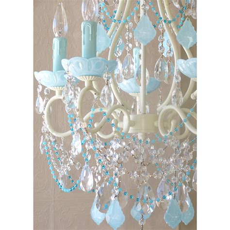 Aqua Blue Chandelier 5 Light Beaded Chandelier With Opal Aqua Blue Crystals