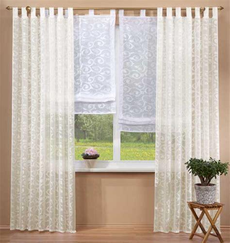 weiße gardinen mit schlaufen set 4 teile vorhang und raffrollo aus jacquard ebay
