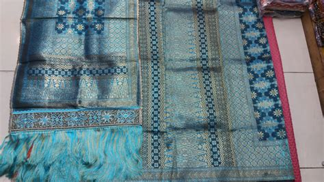 Bordir Selendang jual songket mesin lepus warna biru muda selendang bordir rumbai brokatsongket