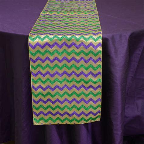 mardi gras table runner 72 quot metallic mardi gras glitter chevron table runner