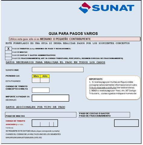 sunat programacion de pago 2016 guia de pagos varios sunat 2016 guia de pagos varios sunat