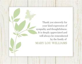 thank you card thank you for sympathy card thank you for sympathy messages custom funeral