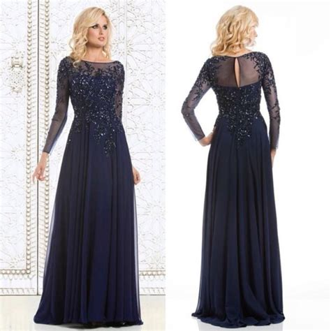 navy blue long sleeve prom dress