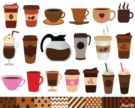 espresso coffee clipart 40 coffee clipart and 8 digital papers coffee clip art