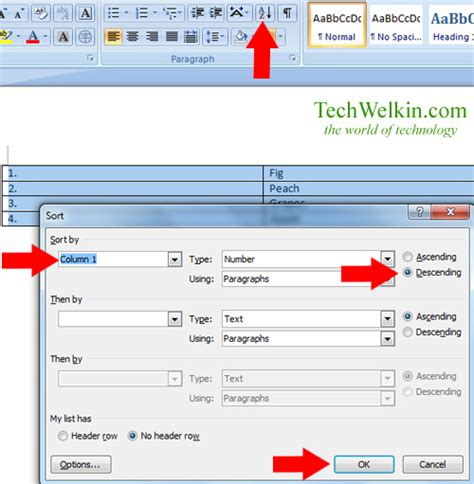 Ms How To Order ms word how to a list order or sequence reversal