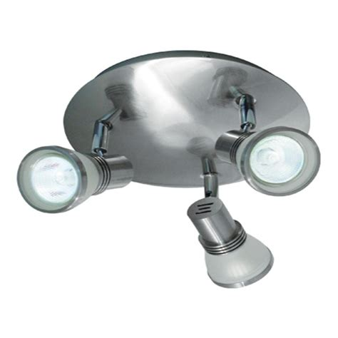Ceiling Lights Halogen Bazz 3 Light Brushed Chrome Halogen Ceiling Fixture With White Frosted Glass Spots Px7083bs