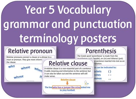 grammar and punctuation year 140714068x year 5 vocabulary grammar and punctuation terminology posters by highwaystar teaching