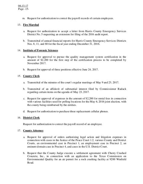 authorization letter harris county notice of a meeting agenda harris county