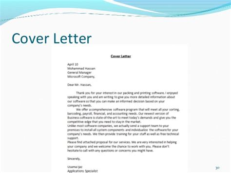 sle of business cover letter business