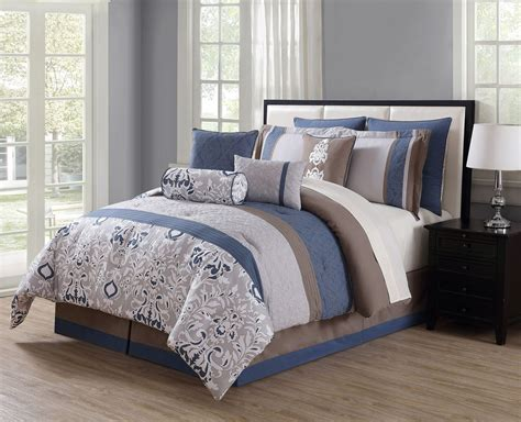 navy and gray bedding 10 piece chloe navy gray taupe reversible comforter set