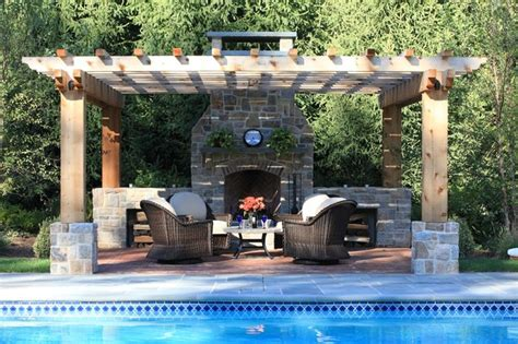 outdoor fireplace with pergola poolside fireplace patio and pergola traditional