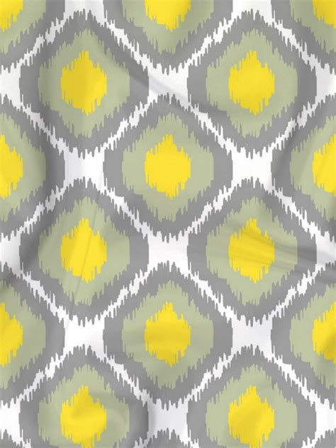 Yellow Ikat Pattern | grey yellow ikat print fabric designer s hand