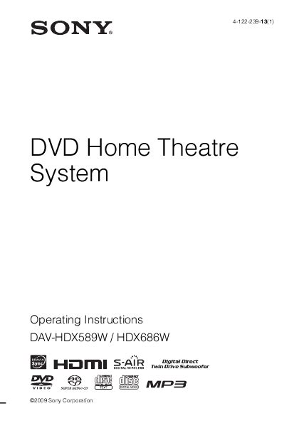 sony stereo system dav hdx589w user s guide