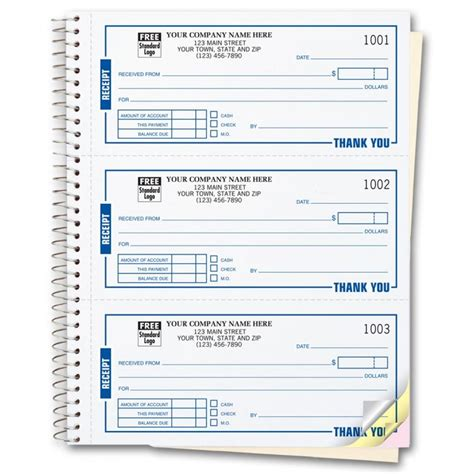 Custom Printed Receipt Template by Spiral Bound Custom Receipt Book Printing Free Shipping