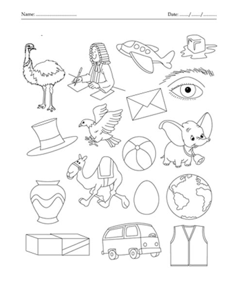 color the picture which start with letter e printable