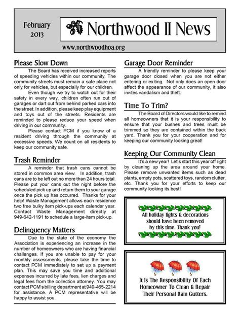 11 Best Sle Newsletters Images On Pinterest Newsletter Ideas Free Stencils And Marketing Ideas Hoa Community Newsletter Templates