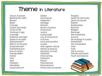 theme literature quiz theme list by winged one teachers pay teachers