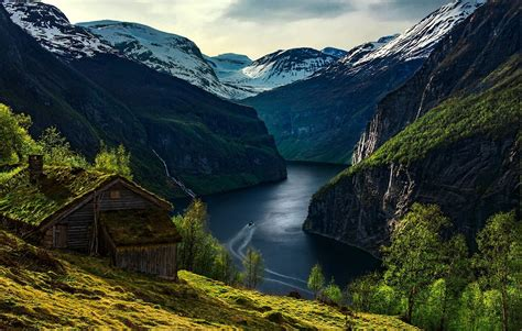 mountain cabin nature landscape geiranger fjord mountain