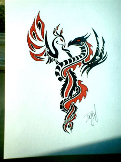 dragon and phoenix tattoo inspiration
