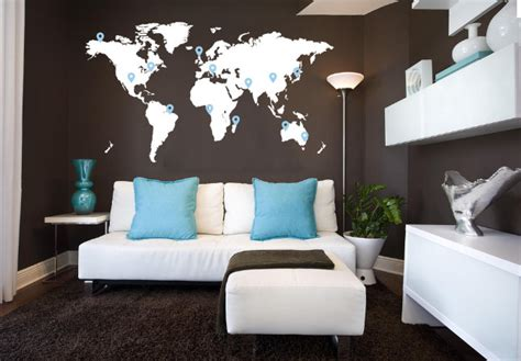World Map In Bedroom by Cool World Map Bedroom Wall Decal Ideas For