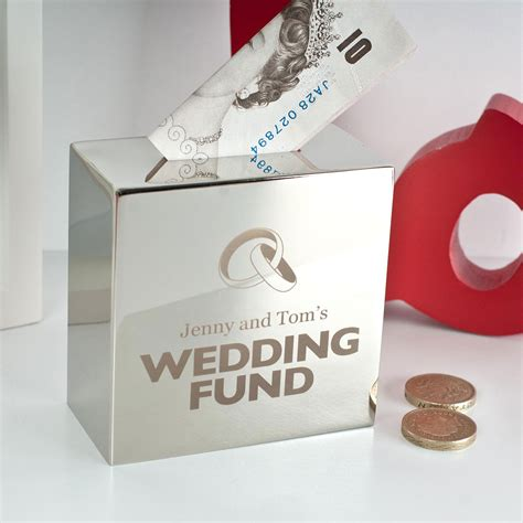 wedding money personalised silver money box wedding fund