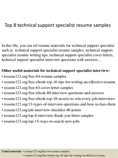 technical support resume sles top 8 technical support specialist resume sles