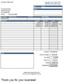 Invoice Template Microsoft Excel by Sales Invoice Template Excel Quotes