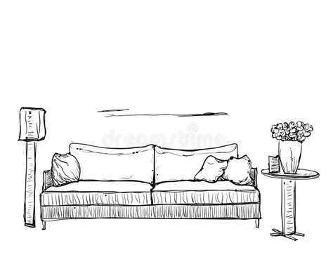 Sofa Sketch Freehand by Sketch Of Sofa With Pillows Stock Vector