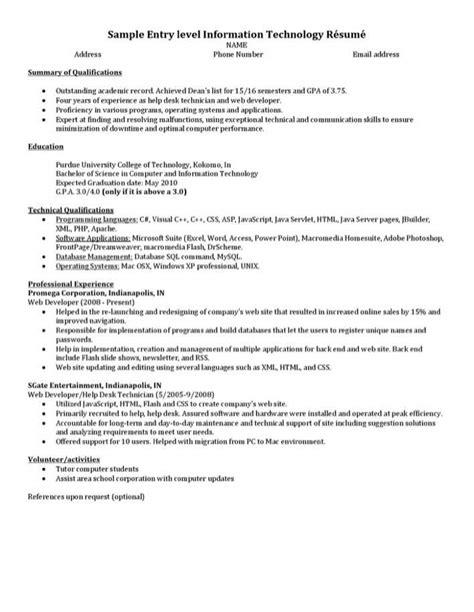 Information Technology Entry Level Resume