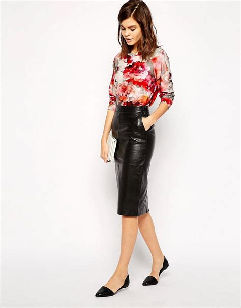 oasis oasis leather pencil skirt at asos