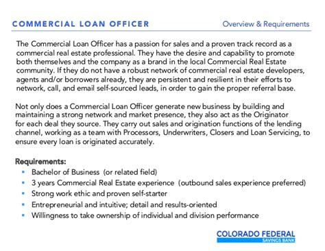 Can I Become A Loan Officer With Mba by Commercial Real Estate Loan Officer Opening