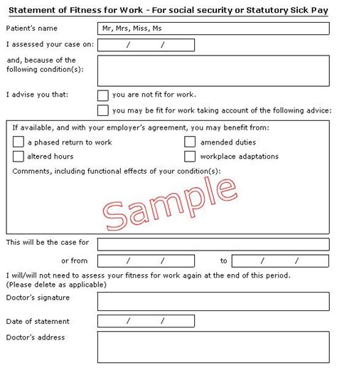 statement of fitness for work template meddygfa cadwgan cadwgan surgery fit notes