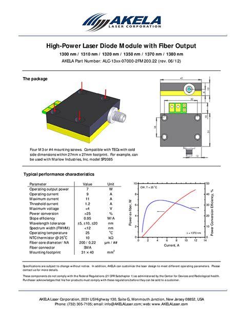 laser diode module fiber coupled 7watt 1300nm diode laser akela laser