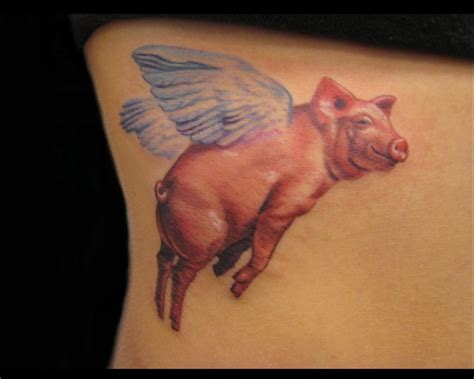 pig tattoo winged pig flying color ink
