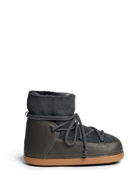 moon boots ikkii classic leather shearling moon boots in gray lyst