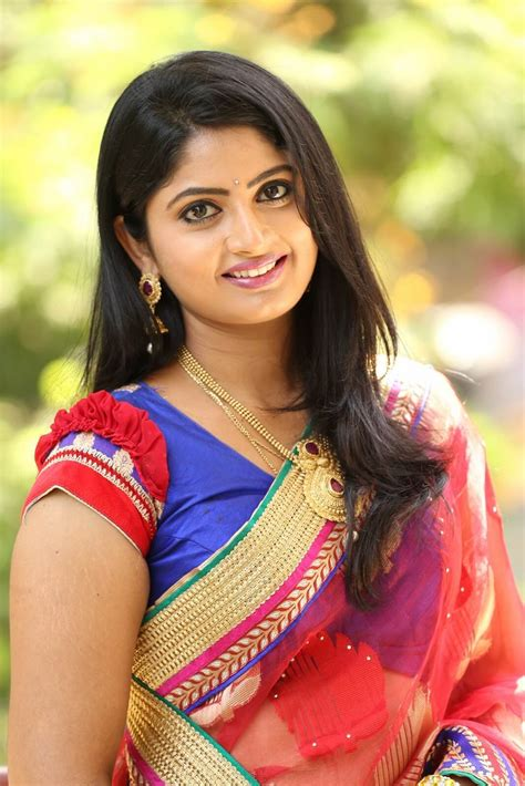 telugu actress tv telugu tv artist mounica latest photos in red saree