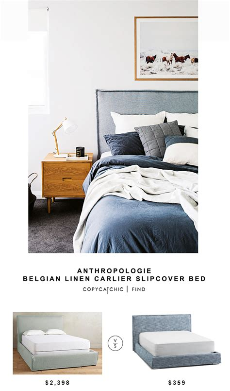 slipcovered bed anthropologie belgian linen carlier slipcover bed